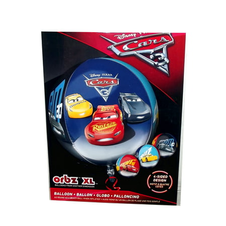 Disney Pixar Cars 3 Lightning McQueen, Jackson Storm, and Cruz Orbz 4-Sided Party Balloon, 16 inches - Lightning Mcqueen Party