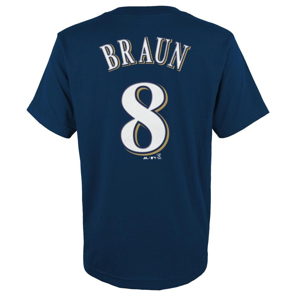 Ryan Braun Milwaukee Brewers Youth Majestic MLB Player Navy T-Shirt