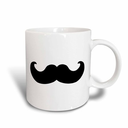 (3dRose Black mustache on white - Ironic hipster moustache - Humorous - Fun - Whimsical - Silly - Funny, Ceramic Mug, 11-ounce)