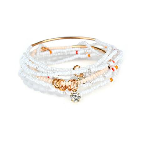 - Elastic Multilayer Beaded Bracelet Boho Crystal Rhinestone Pendant Bracelet Women Jewelry