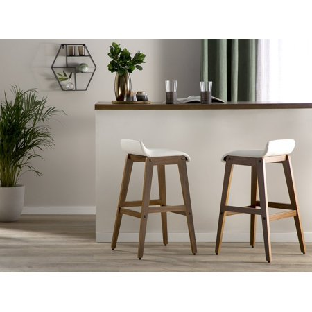 Awe Inspiring Set Of 2 Modern Faux Leather Bar Stools White Polyester Dark Wood Kitchen Chair Cody Evergreenethics Interior Chair Design Evergreenethicsorg