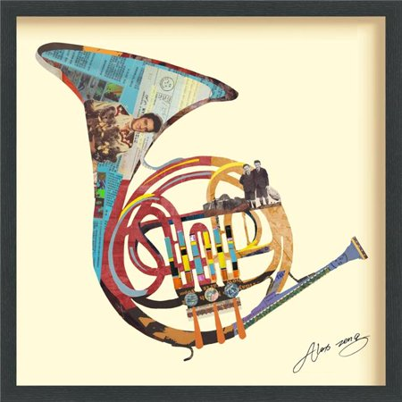 Funky French Horn - Dimensional Art Collage Hand Signed by Alex Zeng Framed Graphic Wall Art