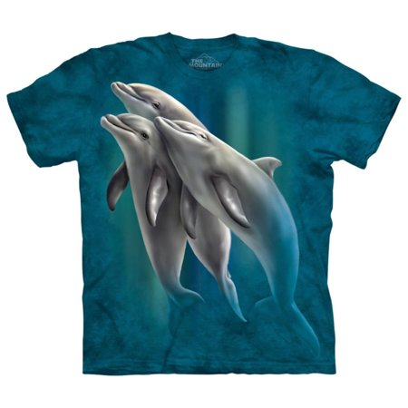 The Mountain Blue Cotton Three Dolphins Design Novelty Parody Adult T-Shirt