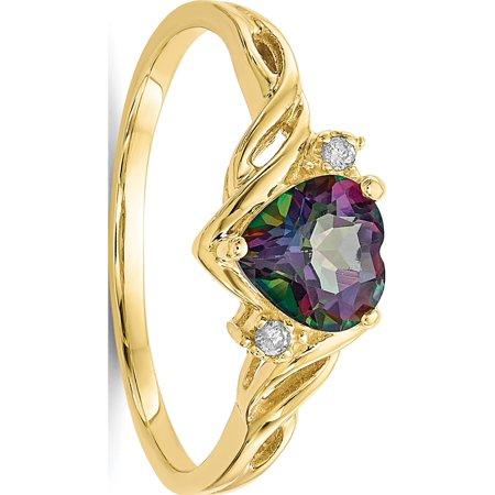 10k Yellow Gold Heart Mystic Fire Topaz 01ct Diamond Ring