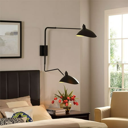 Modway View Adjustable-Shade Double Fixture Wall Lamp in Black