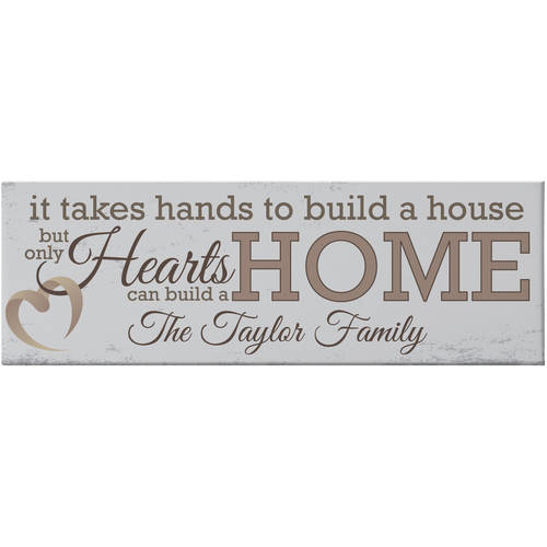 Personalized Hearts Build a Home Canvas, Available in 2 Colors