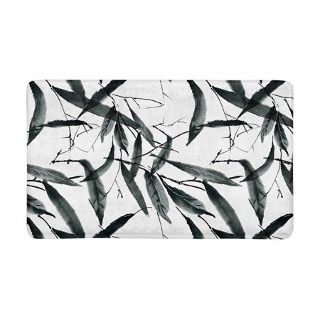 MKHERT Traditional Oriental Chinese Bamboo Leaves Ink Painting Doormat Rug Home Decor Floor Mat Bath Mat 30x18 inch