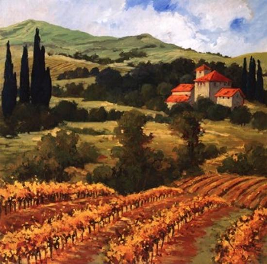 Tuscan Monastery Amidst Autumn Poster Print by Eva Szorc (18 x 18)