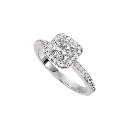 Halo Engagement Rings with CZ in 14K White Gold 0.75 CT TGW - image 2 de 2