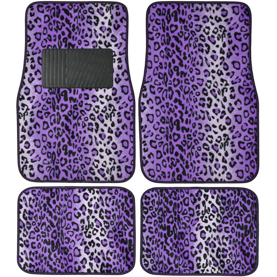 BDK Leopard Car Floor Mats, Animal Prints Mat, 4 Pieces, Purple