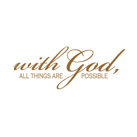 With God All Things Are Possible Vinyl Quote Medium Gold