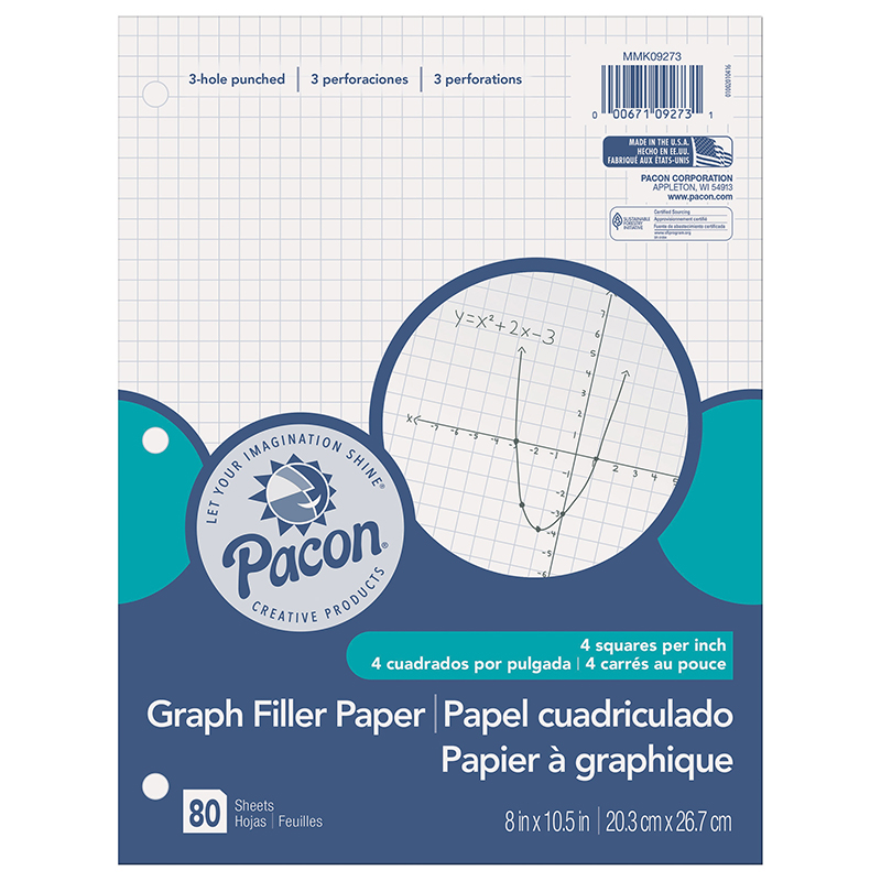 (12 EA) GRAPH PAPER 1/4IN GRID RULING