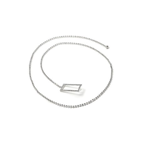 - Silver Crystal Rhinestone Single Line Belt with Rectangle Buckle