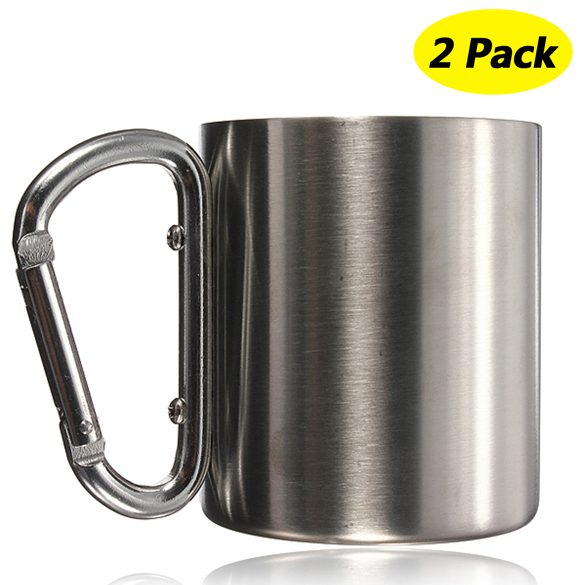 2-Pack 220ML Stainless Steel Coffee Mug Outdoor Camping Cup Carabiner Hook Double Wall For Camping Hiking