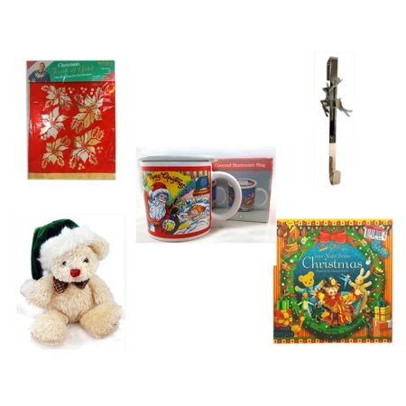 Christmas Fun Gift Bundle [5 Piece] -  Touch of Gold 1-Step Iron-On Foil Poinsettias - Silver Reindeer Over The Door Wreath Hanger  - Treasury of Gifts 11 Oz. (Touch Folio)