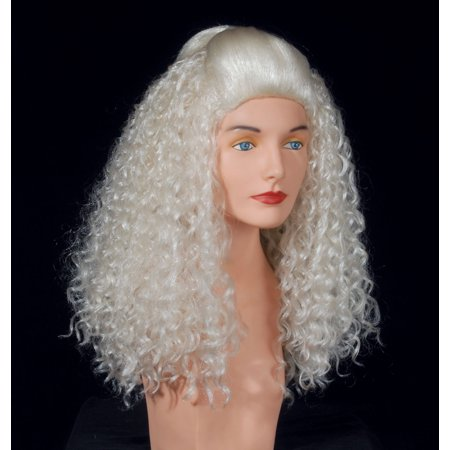 Star Power Superstar Crimped Curly Platinum Wig, Blonde, One Size - Curly Blond Wig