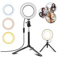 "TSV Ring Light Kit, 6.3"" Outer Dimmable LED Ring Light with 50"" Extendable Tripod Stand, Mini Led Camera Ringlight w/3-Light Color & 10 Brightness Level for YouTube, Self-Portrait Shooting, Streaming"