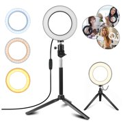"""TSV Ring Light Kit, 6.3"""" Outer Dimmable LED Ring Light with 50"""" Extendable Tripod Stand, Mini Led Camera Ringlight w/3-Light Color & 10 Brightness Level for YouTube, Self-Portrait Shooting, Streaming"""