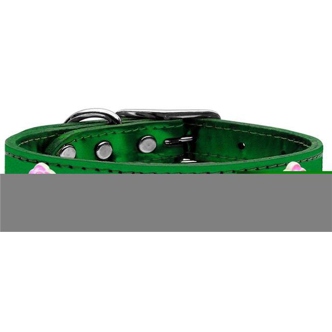 Bright Pink Rose Widget Genuine Metallic Leather Dog Collar Emerald Green 10 - image 1 de 1