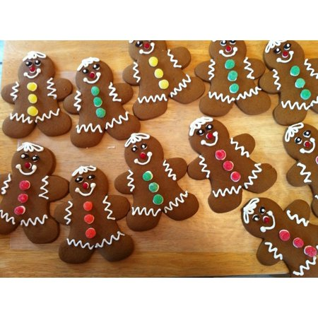 Gingerbread Print - Canvas Print Bake Gingerbread Cookies Gingerbread Men Christmas Stretched Canvas 10 x 14