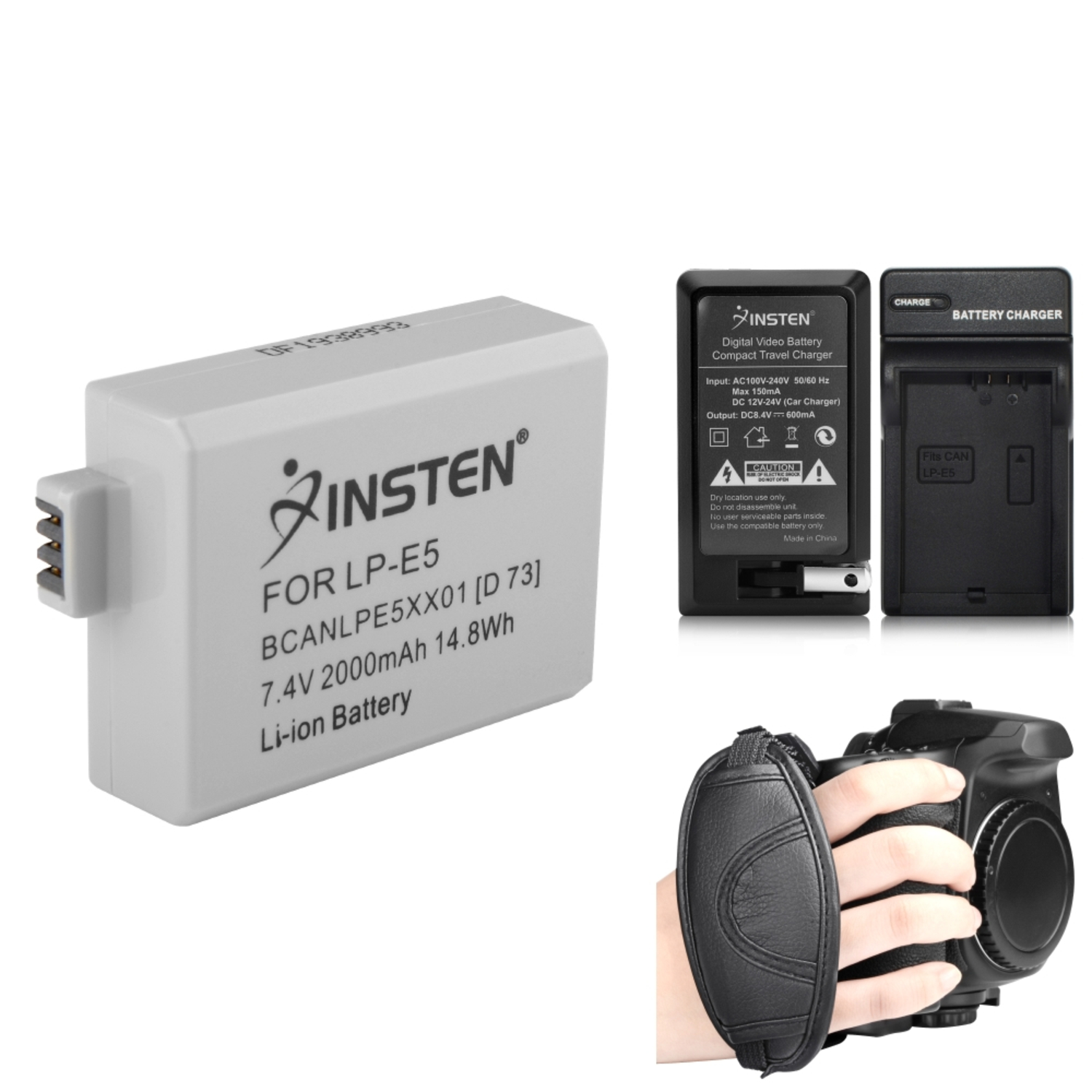 Insten 2x Battery+Charger+Strap LP-E5 For Canon Rebel XSi XS T1i EOS 1000D 450D 500D