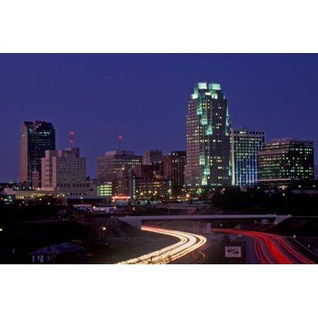 Skyline of Raleigh, NC at night Print Wall Art ()