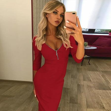 Ruched Zipper (Women Deep V Zipper Wrap Ruched Long Sleeve Nightclub Mini Dress )