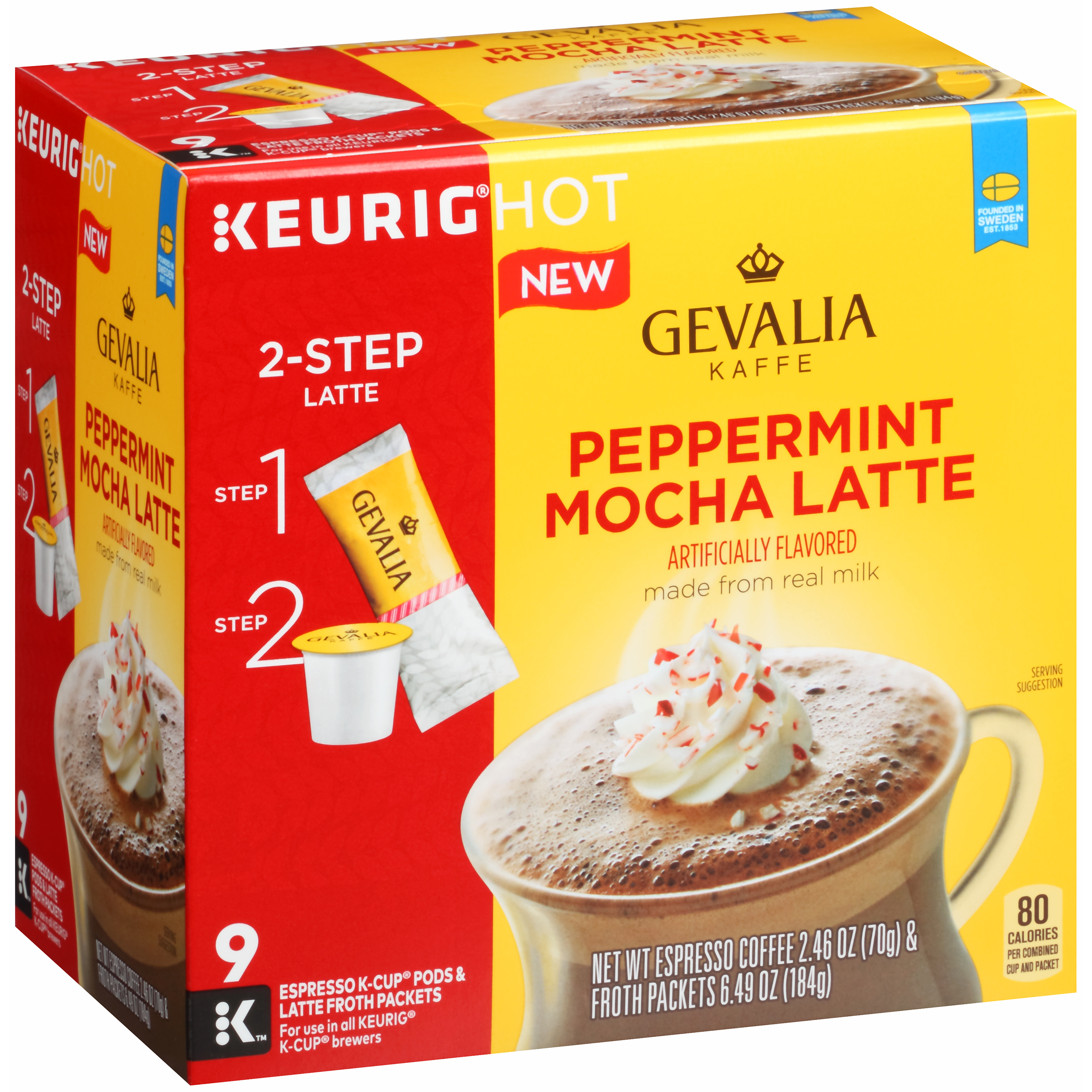 Gevalia Peppermint Mocha Latte Espresso K-Cup�� Pods & Latte Froth Packets 9 ct Box