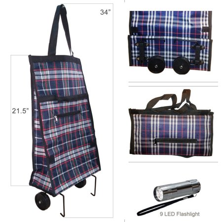 Foldable Trolley (Foldable Shopping Cart Trolley Bag with Wheels & 9 LED Flashlight )