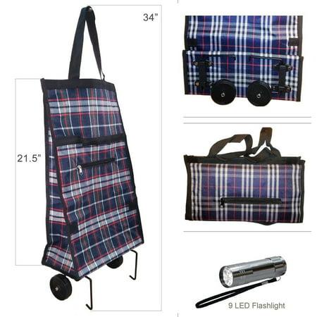 Foldable Shopping Cart Trolley Bag with Wheels & 9 LED Flashlight ()