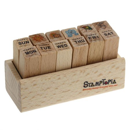 - Sexy Sparkles Rubber Stamps Wooden Days of the Week and Weather Set