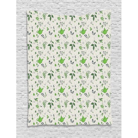 Jasmine Tapestry, Exotic Herbal Tea Concept Green Tea and Jasmine Leaves, Wall Hanging for Bedroom Living Room Dorm Decor, 40W X 60L Inches, Eggshell Pale Green and Dark Green, by Ambesonne ()