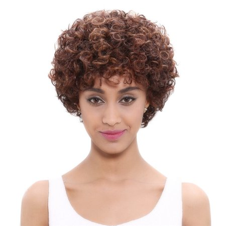 Noble Brazilian Afro Kinky Curly Human Hair Wig Remy Short Human Hair Wigs For Women Black Mix Color Non Lace Wig Free