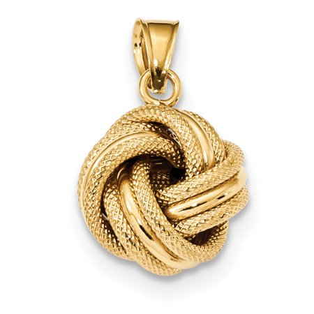 ICE CARATS 14kt Yellow Gold Textured Love Knot Pendant Charm Necklace Fancy Fine Jewelry Ideal Gifts For Women Gift Set From (Gold Small Heart Charm)