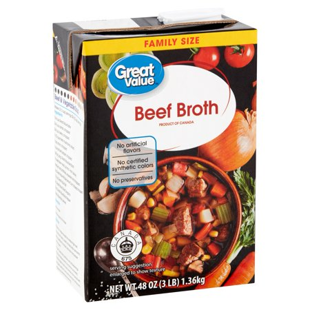 - (3 Pack) Great Value Beef Broth Family Size, 48 oz