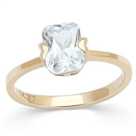 Womens 1.74 Ct Emerald Cut Solitaire Cz Rose Gold Stainless Steel Engagement Ring Size 8
