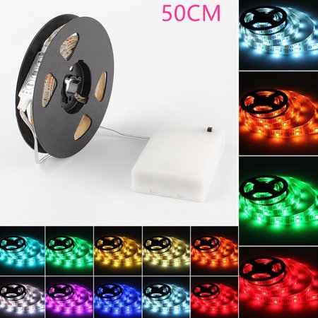 GLISTENY LED Strip Light IP65 Water Resistant Flexible Strip Light 16.4ft/32.8ft/49.2ft/65.6ft Color Changing RGB LED Strip Light Home Decor Kit with DC4.5V Battery