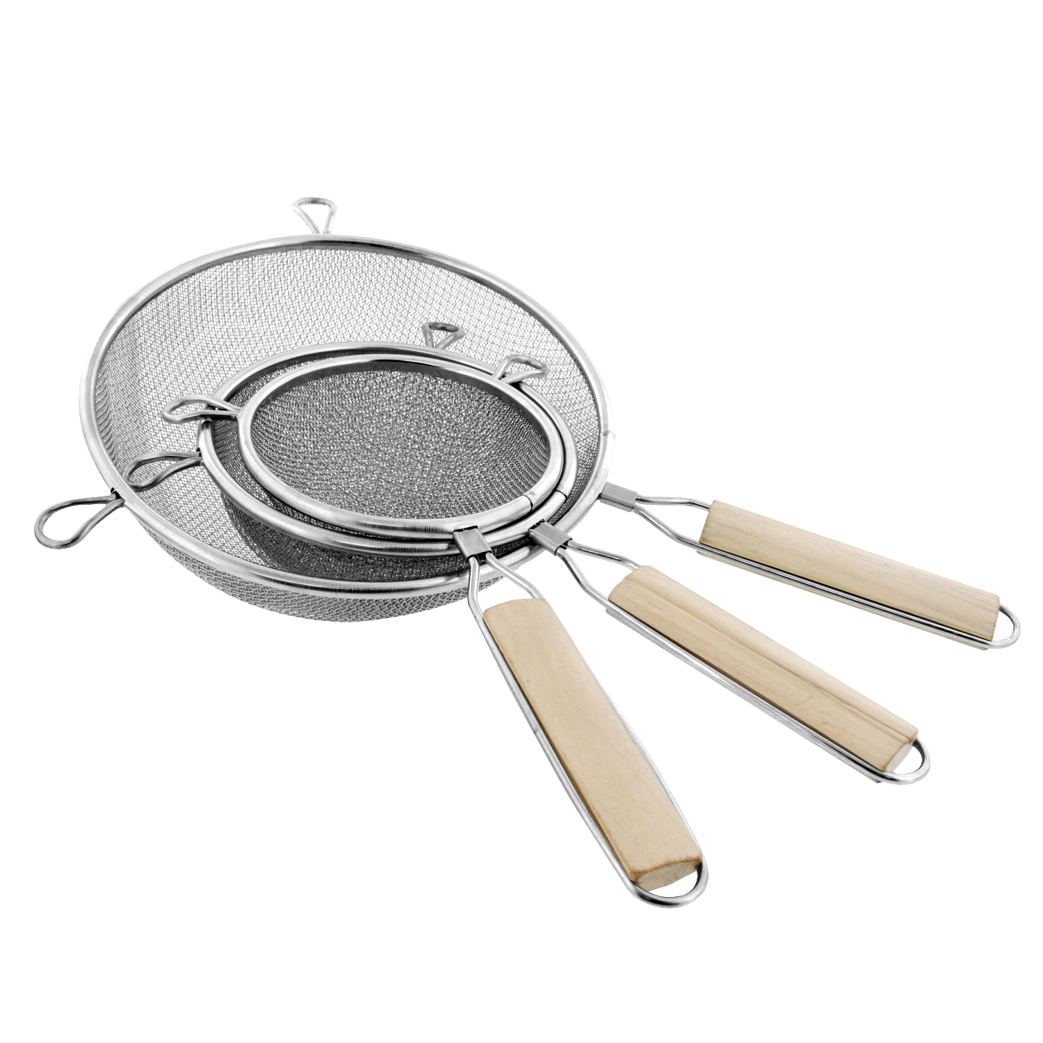 "U.S. Kitchen Supply Set of 3 Double Mesh Extra Fine Stainless Steel Strainers w/ Comfortable Wooden Handles, 4"", 5.5"" 8"""