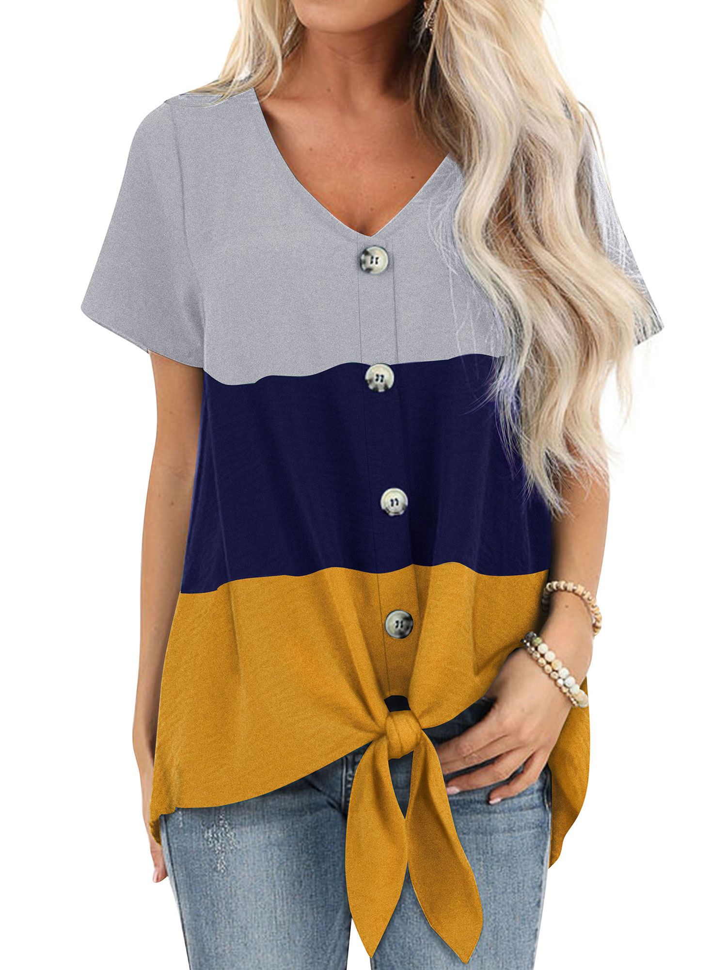 Gilroy Womens T-Shirt Solid Color Summer V Neck Cold Shoulder Short Sleeve Cross Pleated Tops