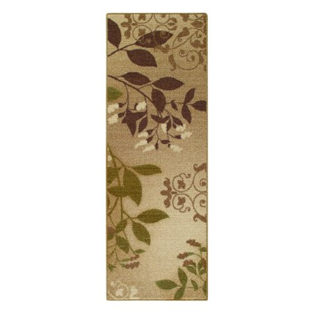 Mainstays Belvedere Tan Leaves Loop Pile Print Area Rug or