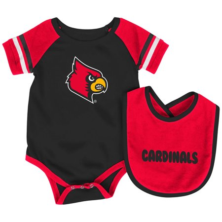 - Louisville Cardinals Colosseum Newborn & Infant Roll-Out Bodysuit & Bib Set - Black/Red