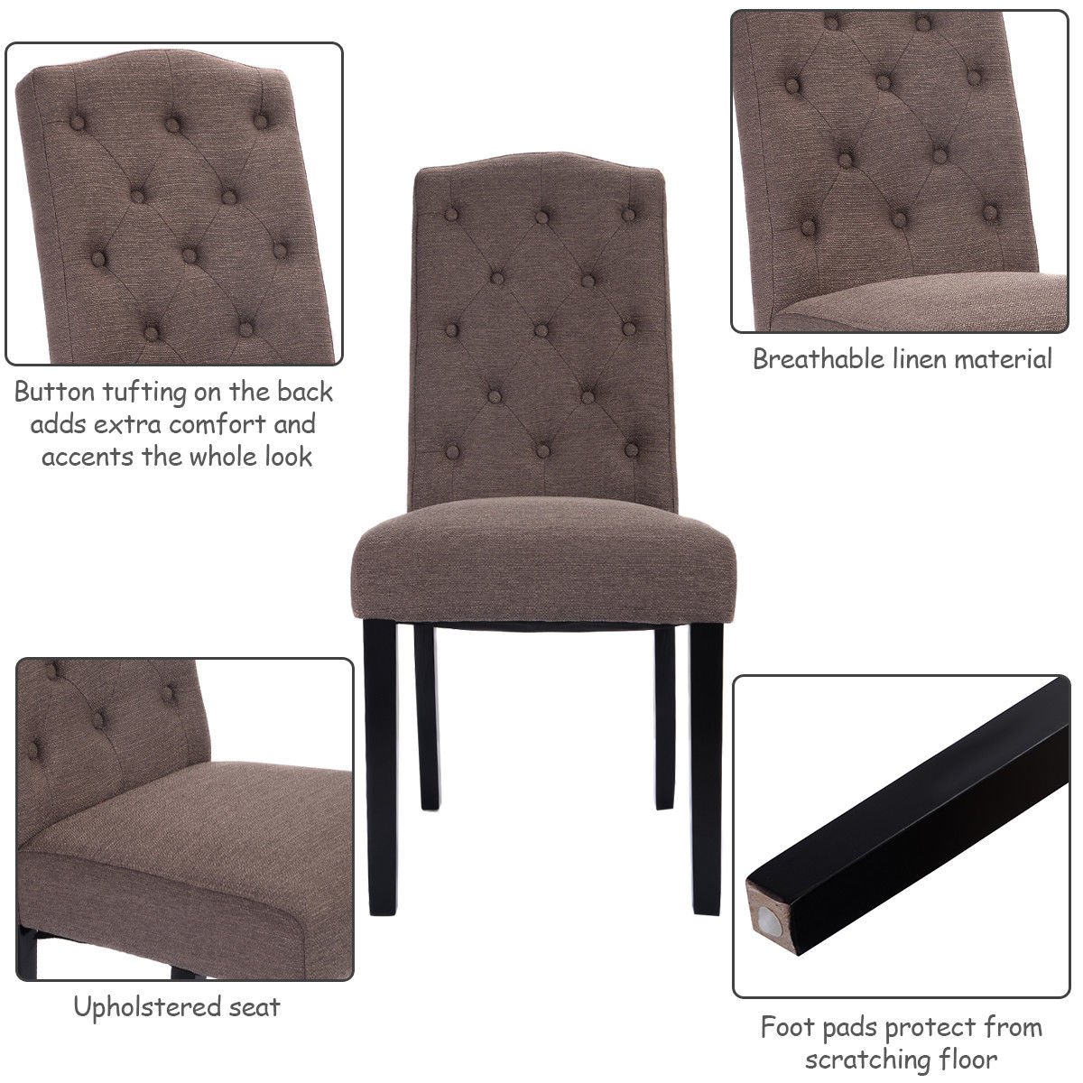 Costway Set Of 2 Fabric Wood Accent Dining Chair Tufted Modern Living Room  Furniture   Walmart.com