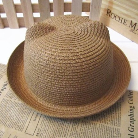 Lovely Cat Ear Kids Fisherman Hat Boys Girls Outdoor Bucket Hat Animal  Shape Handmade Grass Braided c9bcfc4c232
