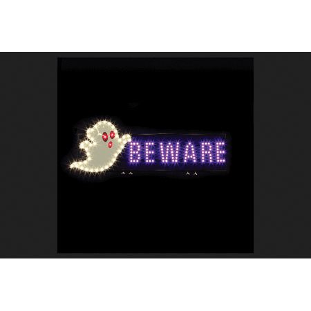 Santa's Best Ghost Beware LED Lighted Halloween Decoration White/Purple 42 in. H x 1.5 in. W x 3 - Best Post Halloween Sale