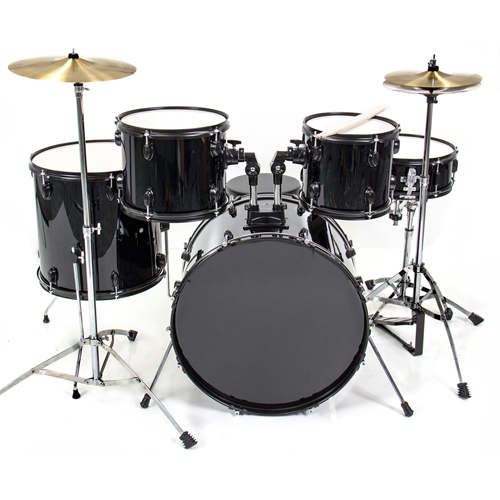 Click here to buy Drum Set 5 PC Complete Adult Set Cymbals Full Size Black New Drum Set.
