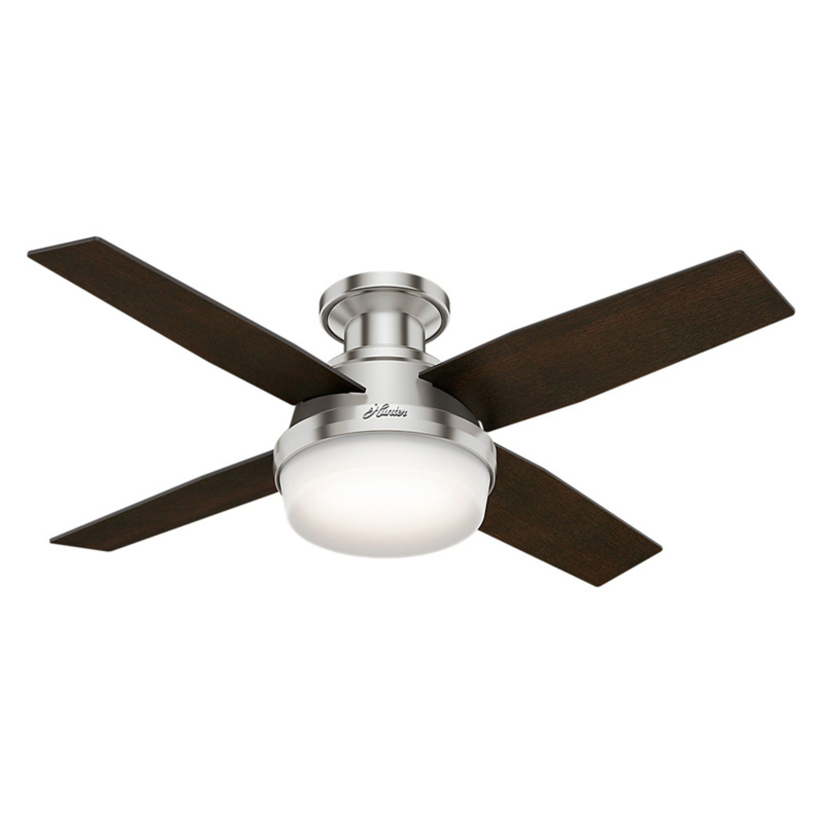 "Hunter Fans 44"" Dempsey Low Profile with Light Brushed Nickel"