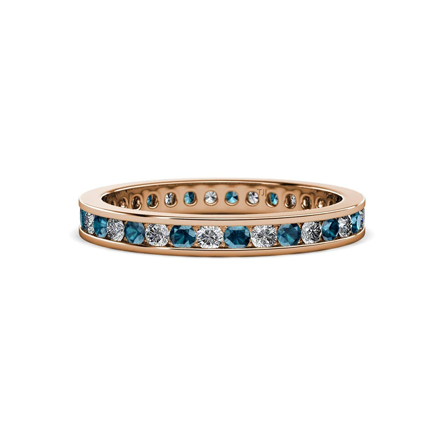 Blue and White Diamond 2mm Channel Set Eternity Band 0.81 to 0.96 Carat tw in 14K Rose Gold.size 7.0 by TriJewels