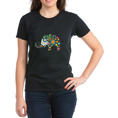 CafePress Womens Elephant Flowers T-Shirt