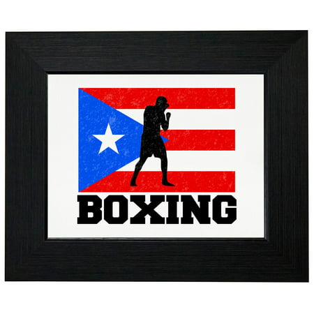 Puerto Rico Olympic - Boxing - Flag Framed Print Poster Wall or Desk Mount Options (Rich Decor)