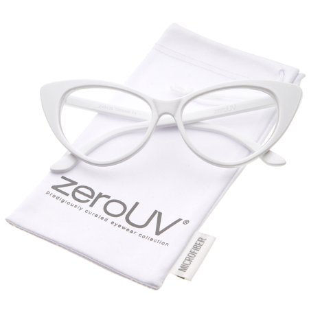 zeroUV - Retro High Sitting Temples Clear Lens Exaggerated Cat Eye Glasses 55mm - 55mm ()